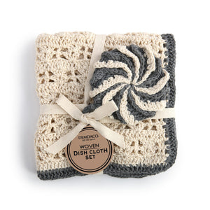 Black Woven Dish Cloth and Scrub Set