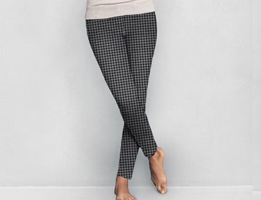 Houndstooth Fleece Lined Leggings