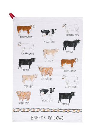 """Breeds of"" Cotton Tea Towel"