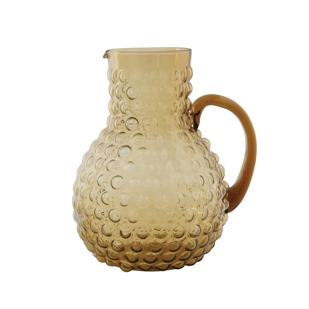 Amber Glass Hobnail Pitcher