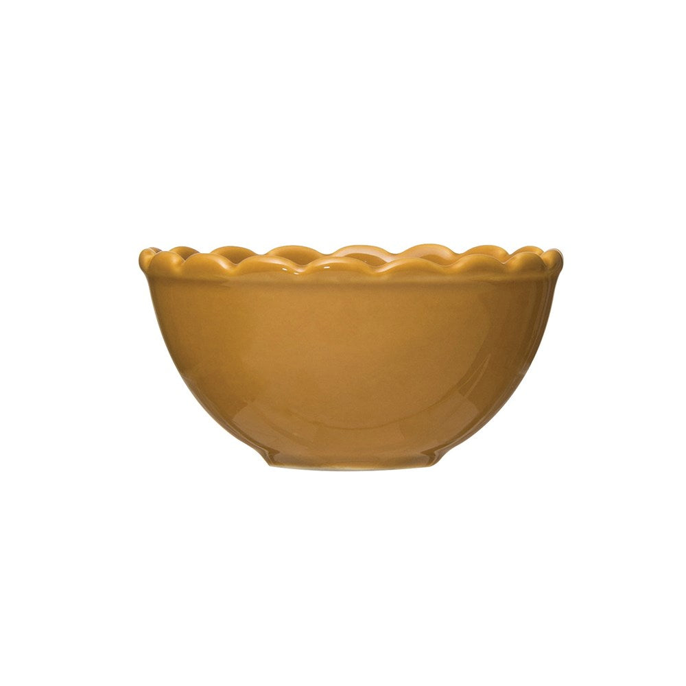 Mustard Stoneware Scalloped Bowl