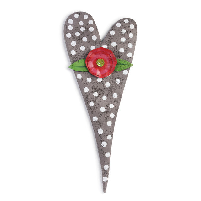 Grey Polka Dot Heart with Flower Door Hanger *Store Pick Up Only*