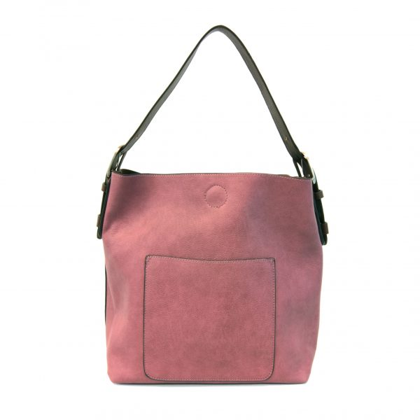 CLASSIC HOBO HANDBAG- DARK RASPBERRY/ COFFEE