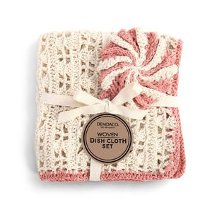 Mauve Woven Dish Cloth and Scrubber Set