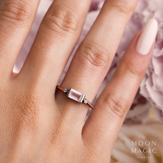 Rose Quartz Rose Gold Vermeil Ring - Poshness