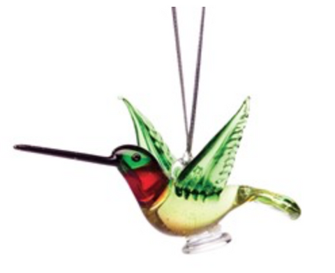 Ruby Throated Hummingbird Glass Ornament