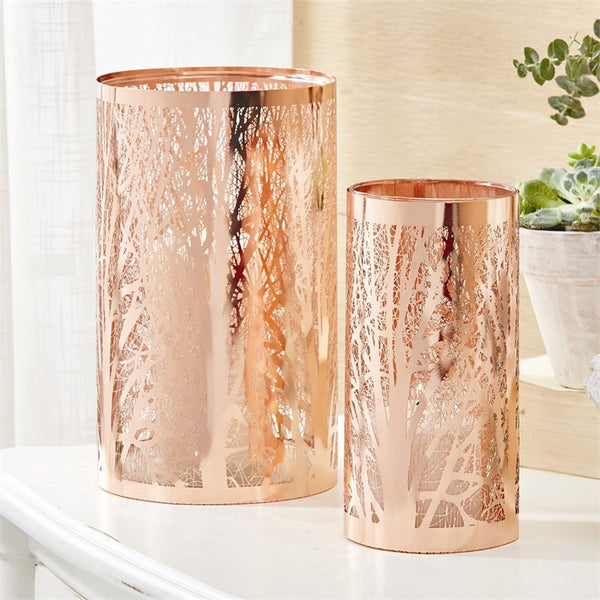 Copper Cut Tree Candle Holder