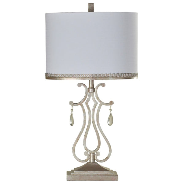 Crystal Crest Metal Table Lamp with Crystal Pendant Accents