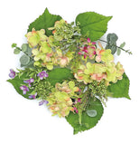 "6"" Hydrangea & Wild Blossom Candle Ring Green Pink"