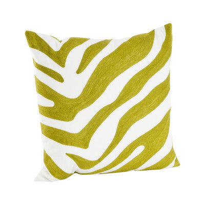 "17"" Chartreuse Zebra Square Pillow"