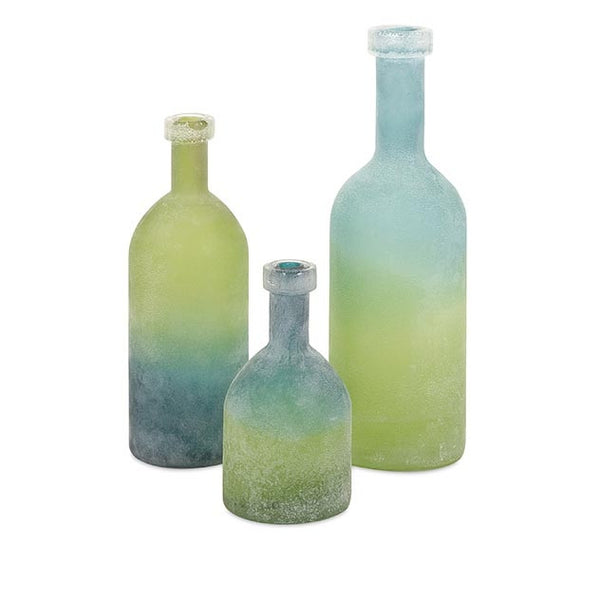 Alena Green and Blue Glass Bottles