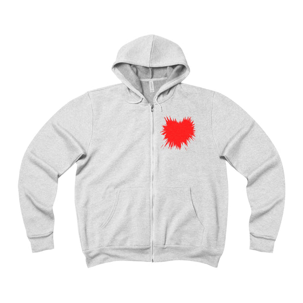 Heart Splattered Unisex Sponge Fleece Full-Zip Hoodie