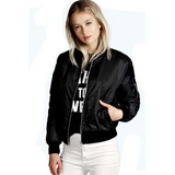 Women's Thin Jackets Tops MA1 Basic Bomber Jacket Long Sleeve Coat Casual Stand Collar Slim Fit Outerwear