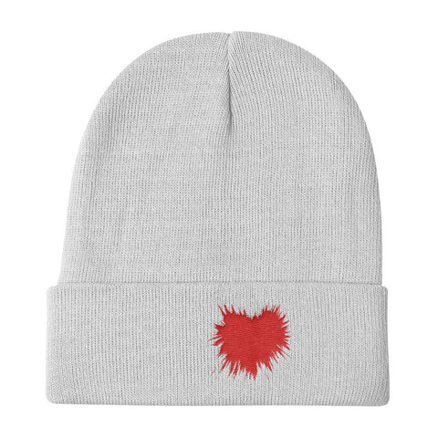 Heart Splattered Knit Beanie