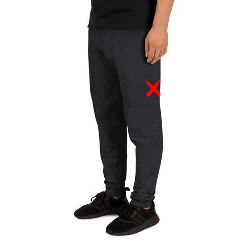 Jogger Pants for Men Red X in Grey | DrawnByB