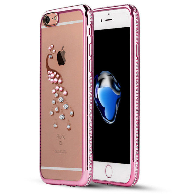 Rhinestone Case For iPhone 7 / 7 Plus Silicone Glitter Diamond Transparent Cover For iPhone 7 Plus Phone Bag Cases Coque Luxury