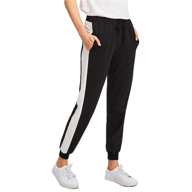 Mid Waist Contrast Panel Tapered Sweatpants Black and White Color Block Drawstring Waist Casual Long Pants