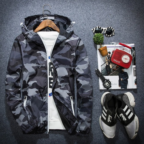 Hooded Camoflauge Windbreaker Jacket