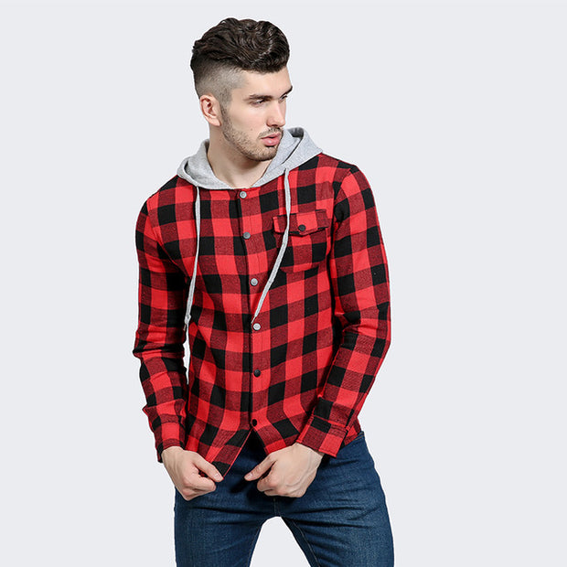 Red Black Plaid Men's Long Sleeve Slim Fit Mens Hoodies