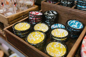 Round Enameled Splatterware Pinch Pots