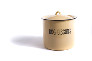 "Enameled Metal Container ""Dog Biscuits"" w/ Lid - The Pioneer Woman Mercantile"