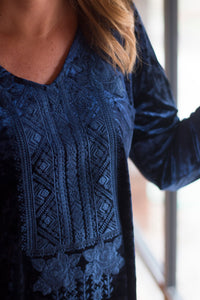 Navy Velvet Embroidered Top