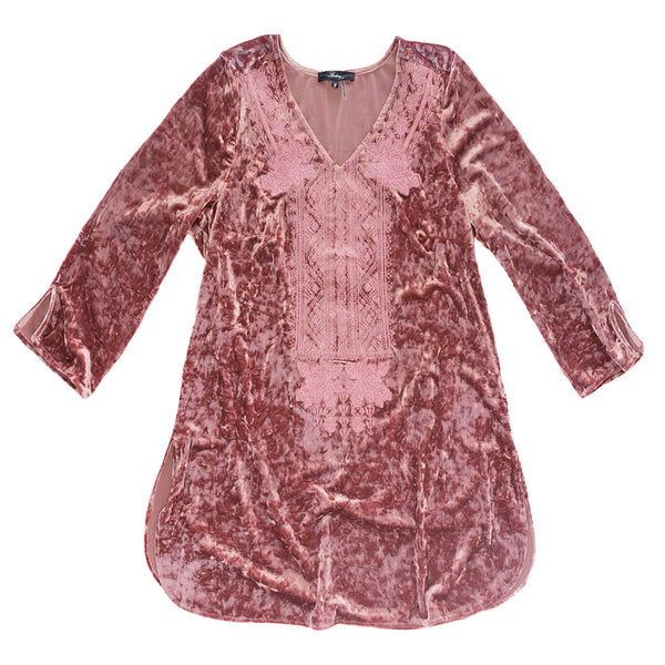 Rose Velvet Embroidered Top