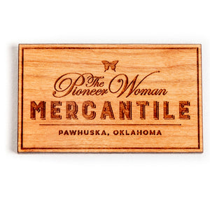 Square Butterfly Mercantile Wooden Magnet