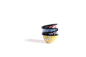 Round Enameled Splatterware Pinch Pots - The Pioneer Woman Mercantile