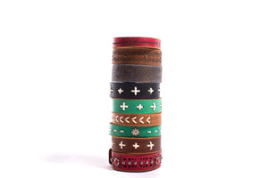 Black Leather Bracelet with Cross Stitching - The Pioneer Woman Mercantile