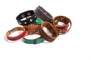 Red Tribal Print Leather Bracelet - The Pioneer Woman Mercantile