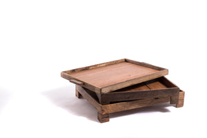 Square Reclaimed Wood Footed Tray - The Pioneer Woman Mercantile