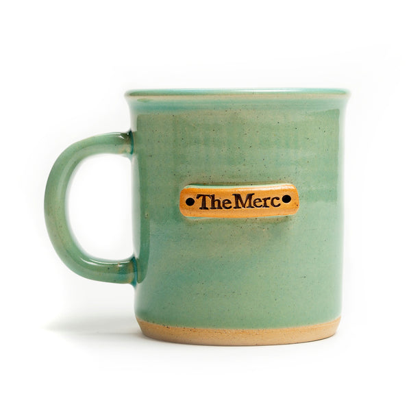 "Aqua Hand Stamped ""The Merc"" Mug"