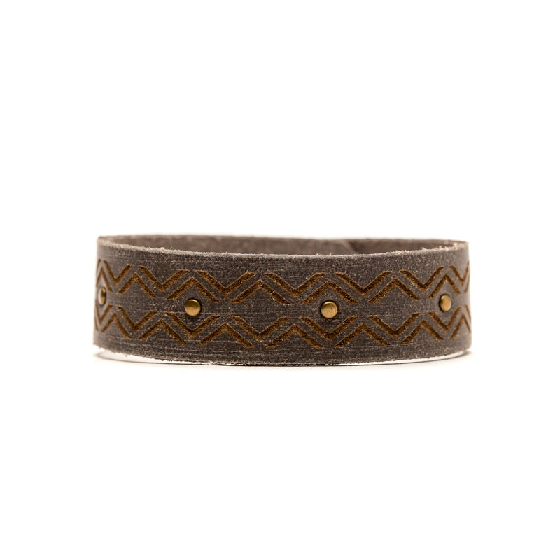 Gray Leather Bracelet with Zig Zag Design - The Pioneer Woman Mercantile