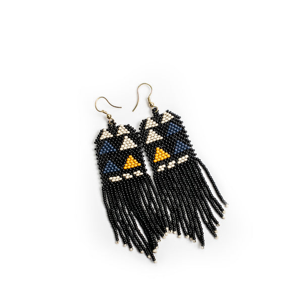 Black, Ivory, Navy Seed Bead Earring