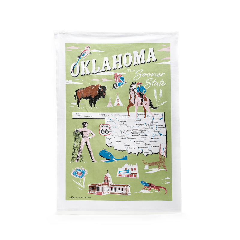 Oklahoma Icons Tea Towel
