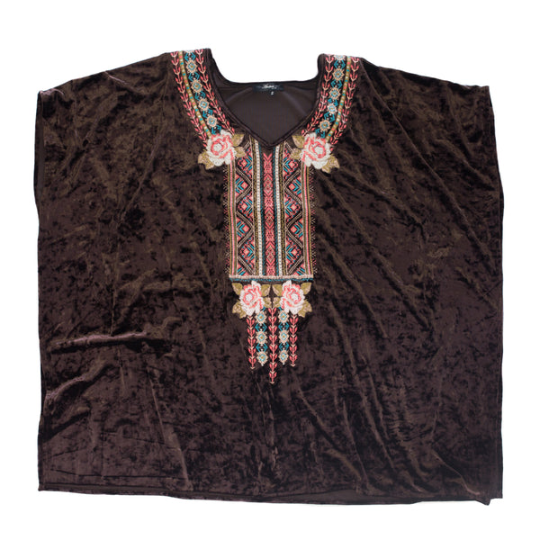 Chocolate Velvet Embroidered Top