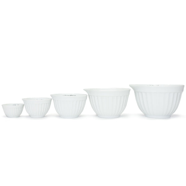 White Porcelain Ribbed Measuring Cup Set