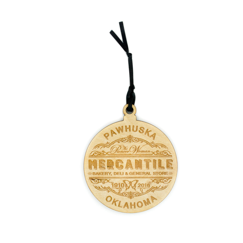 Mercantile Round Wooden Ornament - The Pioneer Woman Mercantile