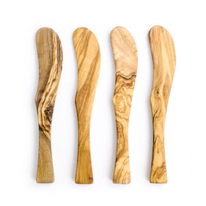 Set of Four Olive Wood Spreaders
