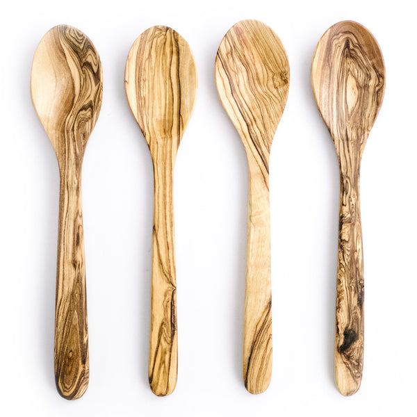 Set of Four Large Olive Wood Spoons