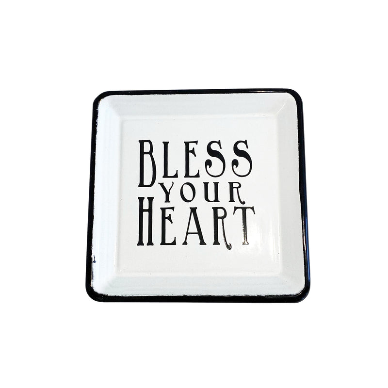 Bless Your Heart Square Enamel Dish