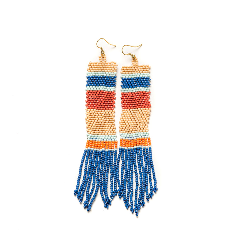 Blue Stripe Seed Bead Earrings