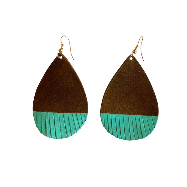 Brown Hand Cut Leather Teardrop Earring with Turquoise Fringe