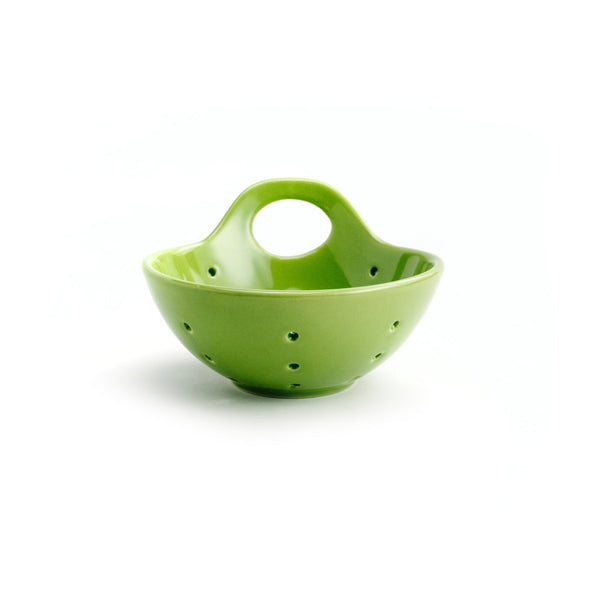 Green Round Stoneware Berry Bowl