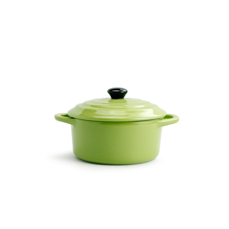 Green Round Stoneware Mini Baker with Lid