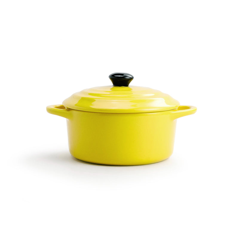 Yellow Round Stoneware Mini Baker with Lid - The Pioneer Woman Mercantile