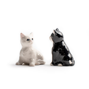 Black and White Cat Salt and Pepper Shaker