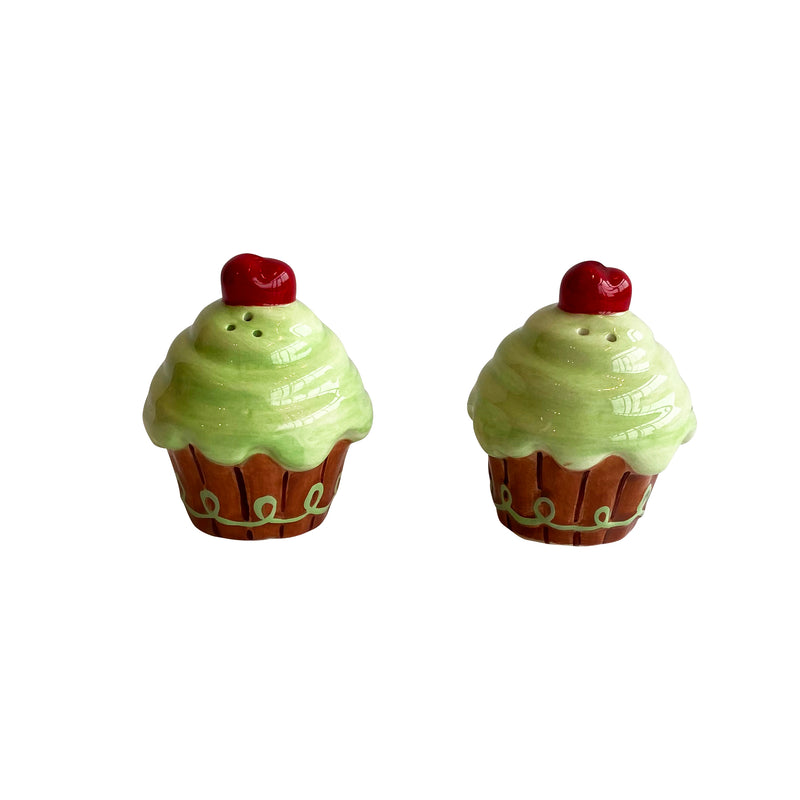 Green Cupcake Salt & Pepper Shakers