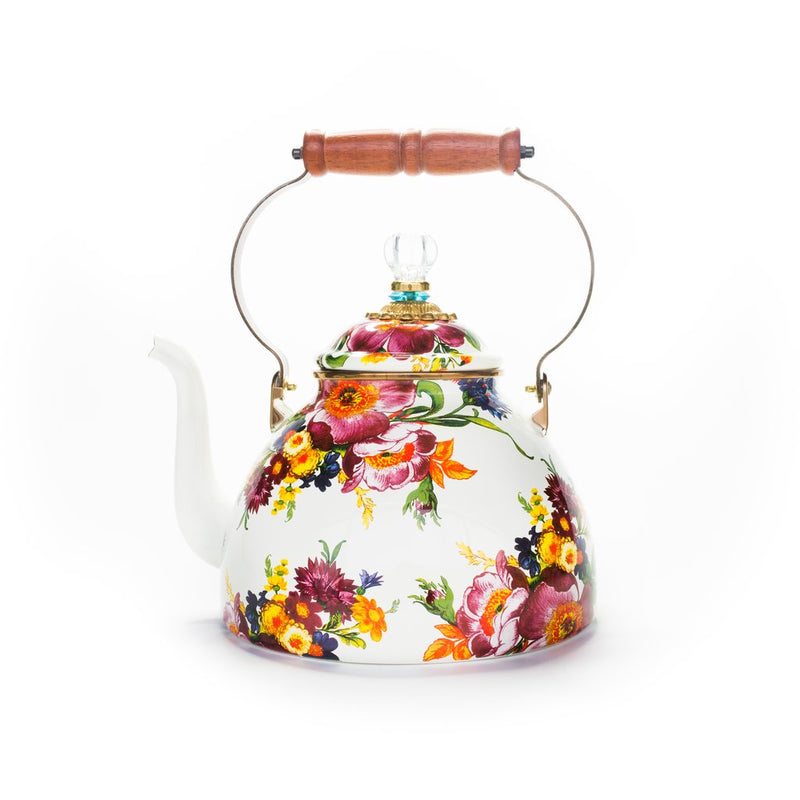 White Mackenzie-Childs Flower Market Kettle - The Pioneer Woman Mercantile